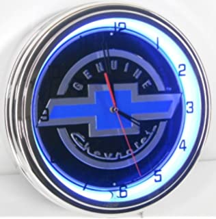 Amazoncom Genuine Chevy 18 Double Neon Lighted Wall Clock Sign
