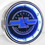 Genuine Chevy 15'' Neon Lighted Wall Clock Sign Blue / Black