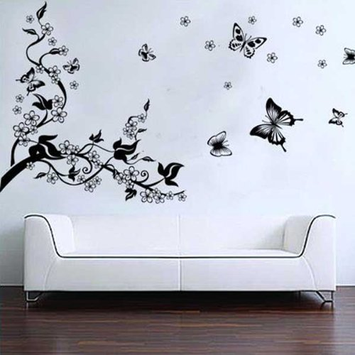 BestOfferBuy Romantici Stickers da Muro in 3D con Decalcomania di un Albero con Farfalle haibei