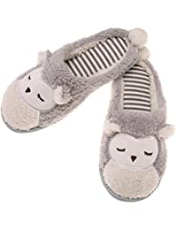 Womens Fuzzy Soft Cute Animal House Slippers Bedroom Indoor Winter Slippers