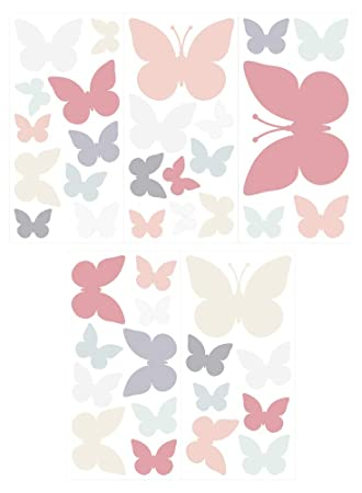 dekodino Wandtattoo Kinderzimmer Wandsticker Set Schmetterlinge in ...