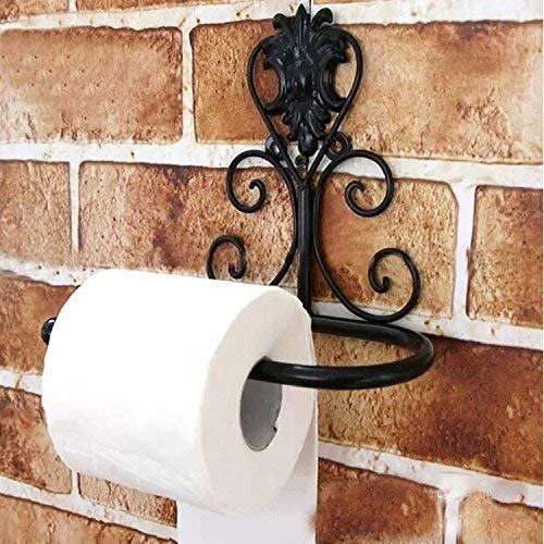 Aiweasi Exquisite Rack Iron Bathroom Toilet Paper Holder European Virgin Bathroom Wall - Mounted Paper Towel Rack, White (Color : Black)