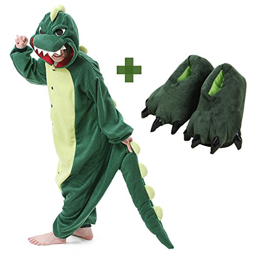 (Kids Unisex Dragon Onesie Pajamas Animal Costume Sleepwear with Monster Slipper (Green Size)