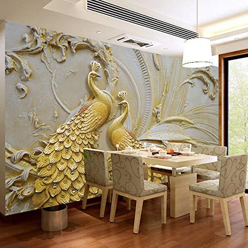 Foto personalizzata WallPaper 3D Pavone dorato Carta da ...