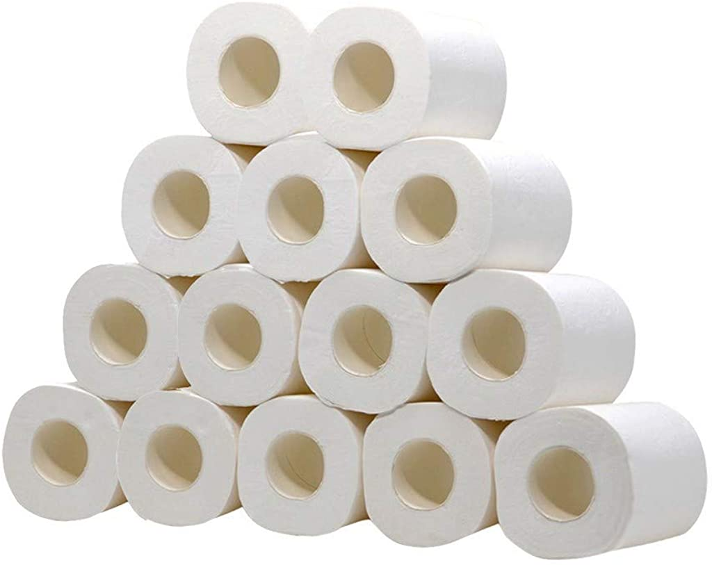 JSPOYOU Hollow Replacement Roll Paper Print Toilet Paper Table Kitchen Paper 14PC