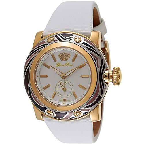 GLAM ROCK WOMEN'S MIAMI 46MM WHITE LEATHER BAND SWISS QUARTZ WATCH GR10507