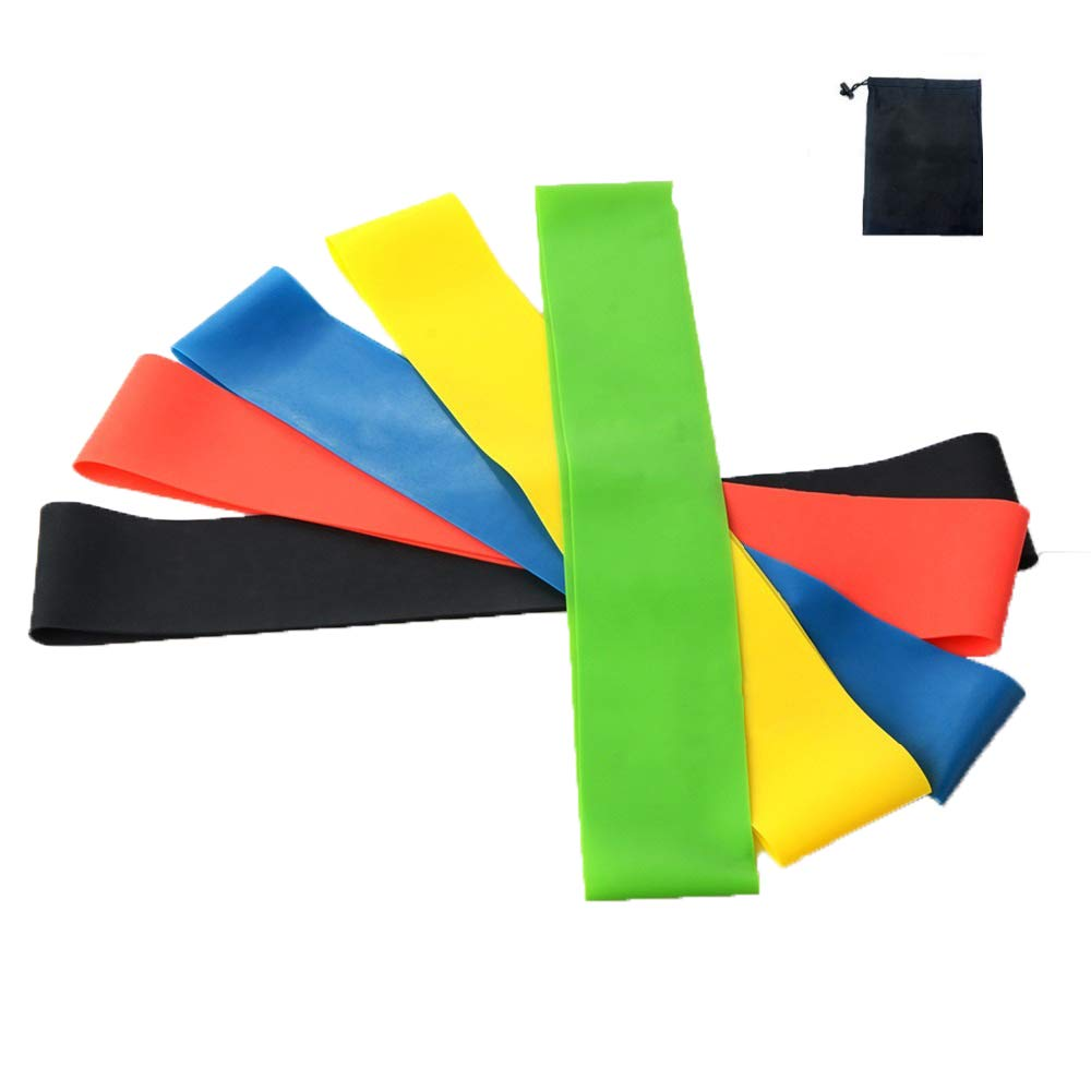 Resistance Bands Set or 5 Latex Fitness Bands for Yoga Pilates Mobility Injury Rehabilitation Workout Improving Mobility and Strength Physical Therapy
