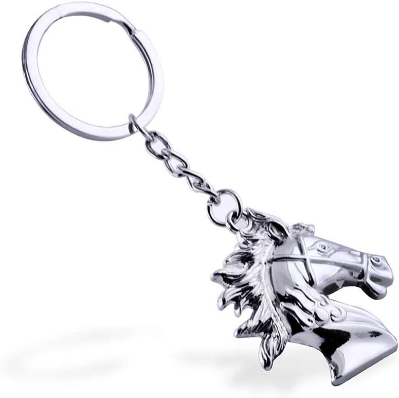Silver Hooshion Alloy Keychain Metal Keyring Stainless Steel Key Chain Horse Head Mold Key Ring Decoration Cool Keychain for Car Keys Women Men Boys Gifts Keychain