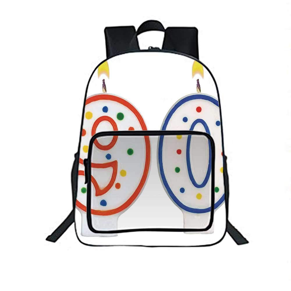 90th Birthday Decorations Individual School Backpack,Party Preparations Candles Number Ninety in Red and Blue for School Tourism,One_Size
