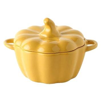 BESTONZON Forma de calabaza Cerámica Cocinera de arroz Tazón de sopa con asa y tapa para