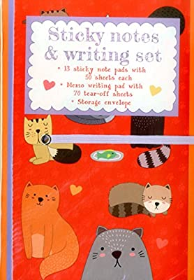 Sticky Notes and Writing Set: Cute Cats: Fabulous Wallet-Style Folder Containing 13 Sticky Notepads, A Tear-Off Writing Pad, And Storage Envelope.