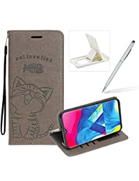 Strap Leather Case for Galaxy M20,Gray Wallet Flip Case for Galaxy M20,Herzzer Elegant Classic Solid Color Magnetic Cute Fish Cat Printed Stand PU Leather Case with Soft TPU