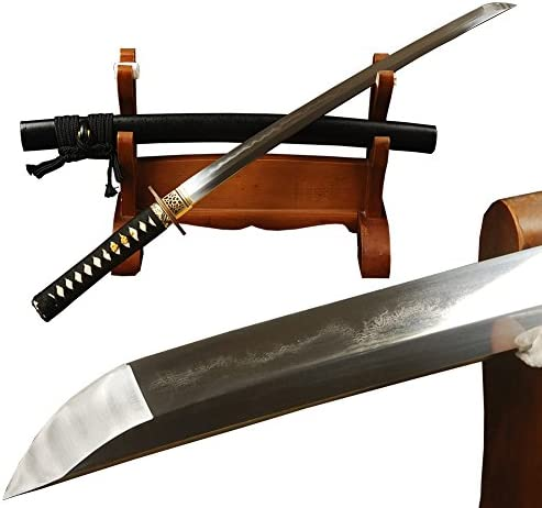 YJ COOL Sharp Wakizashi Japanese Samurai Sword Clay Tempered 1095 Carbon Steel Folded 15 Times Full Tang