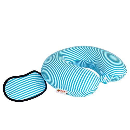 Andyshi Memory Foam U-Shaped Travel Neck Pillow with Sleep Mask Blue