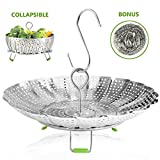 "Vegetable Steamer Basket Stainless Steel Collapsible Steamer Insert for Steaming Veggie Food Seafood Cooking, Metal Handle Foldable Legs, Fit Various Pot Pressure Cooker (5.3"" to 9"") …"