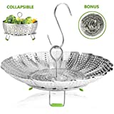 "Vegetable Steamer Basket Stainless Steel Collapsible Steamer Insert for Steaming Veggie Food Seafood Cooking, Metal Handle Foldable Legs, Fit Various Pot Pressure Cooker (5.3"" to 9"")"