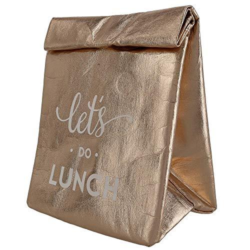 (Santa Barbara Design Studio Let's Do Lunch Metallic Rose Gold Washable Insulated Paper Tote Bag, 12 Inch)