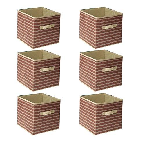 Galvanized Storage Cube - 6pcs Home Storage Box Household Organizer Fabric Cube Bins Basket Container - Brown Stripe & khaki + FREE E - Book