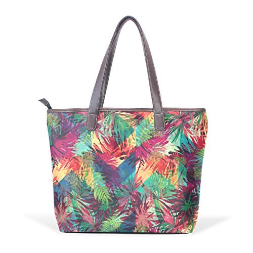 Colorate Maniglia Pu Dimensioni Modello Cm Foglie Coosun Di Bag Cuoio Bags Muticolour 33x45x13 Shoulder Grandi L Tote 5xnqYnPw
