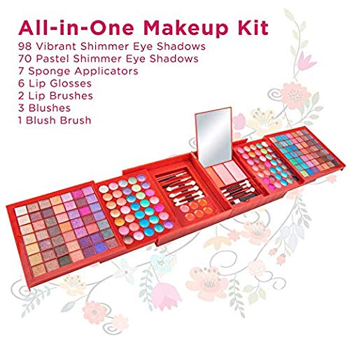 Vokai Makeup Kit Gift Set – 168 Eye Shadow Colors, 6 Lip Glosses - Pop-Up Mirror - Case with Carrying Handle