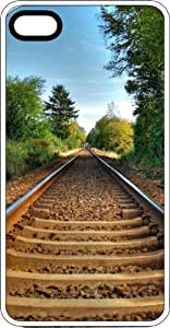 Country Railroad Tracks White Plastic Case for Apple iPhone 4 or iPhone 4s
