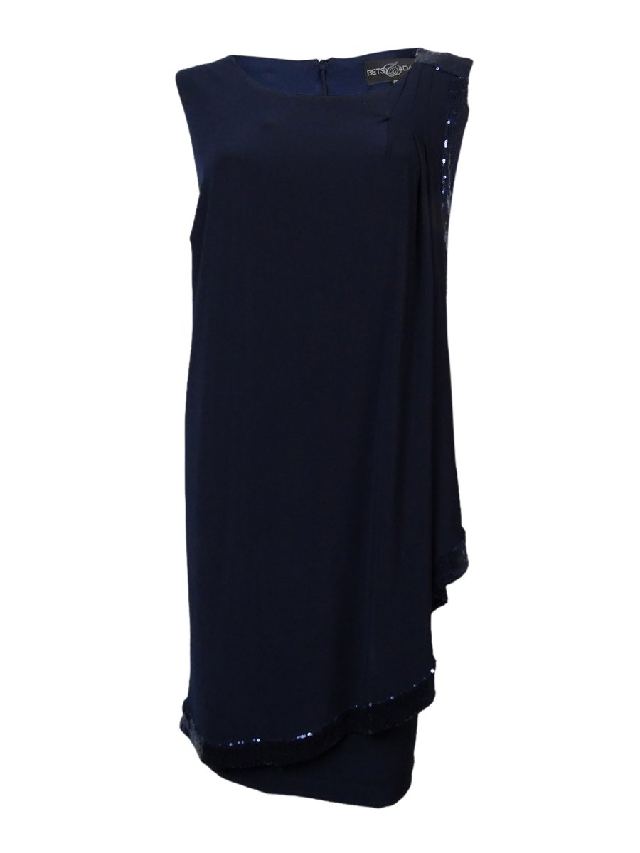 Betsy & Adam Women's Sequin Trim Draped Jersey Dress (12, Navy) by Betsy & Adam