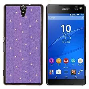 Violet Yellow Star Polka Dot Résumé - Metal de aluminio y de plástico duro Caja del teléfono - Negro - Xperia C5 E5553 E5506 / C5 Ultra