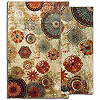 Mohawk Home Caravan Medallion Nylor 5 x 8 Area Rug and Runner 1 10 x 8 Set, Multi Color