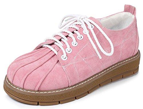Idifu Womens Casual Lage Top Lace Up Sneakers Lage Sleehak Faux Suede Oxfords Schoenen Roze