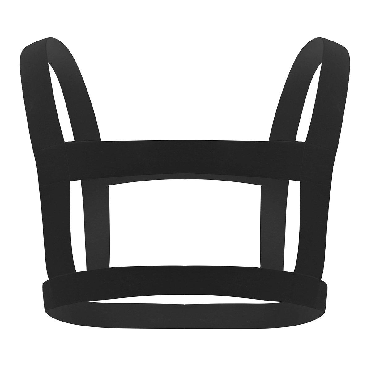 IEFIEL Men Nylon Halter Neck Elastic Body Chest Harness Costume Belt Black B One Size