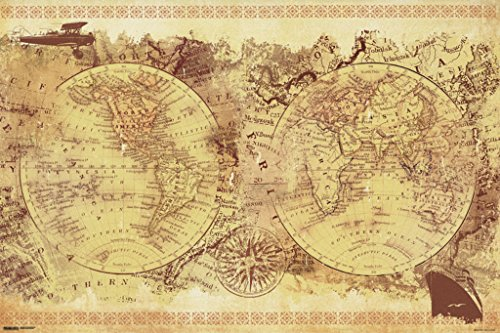 Malcolm Watson Vintage Collage World Map Old World Renaissance Art Style Classroom Poster - Style X Frames Malcolm