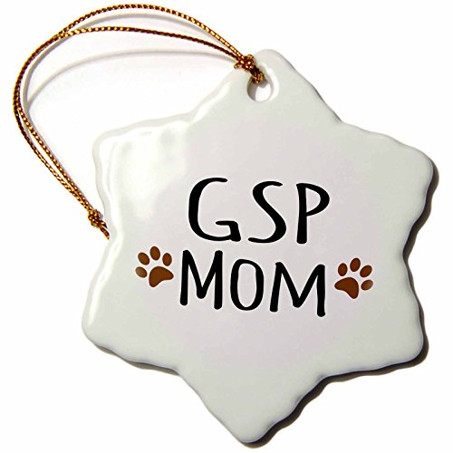 3dRose ORN_154132_1 GSP Dog Mom German Shorthaired Pointer Short-Haired Doggie by Breed Brown Paw Prints Snowflake Ornament, Porcelain, 3-Inch
