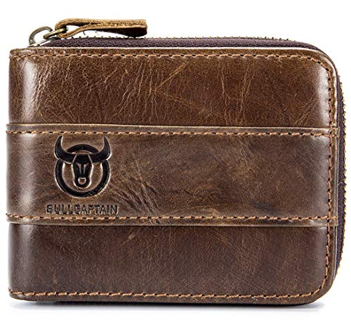 (Mens Leather Wallet, RFID Blocking Vintage Zip Around Bifold Wallet Credit Card Holder)
