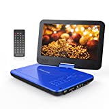 """DBPOWER 10.5"""" Portable DVD Player with Swivel Screen, 3 Hours Rechargeable Battery, SD Card Slot and USB Port - Blue"""