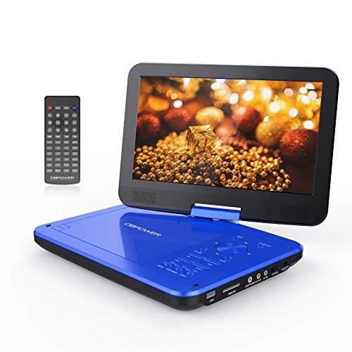 "DBPOWER 10.5"" Portable DVD Player with Swivel Screen, 3 Hours Rechargeable Battery, SD Card Slot and USB Port - Blue"