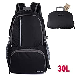 OXA Ultralight Foldable Daypack Packable Backpack 30L, Durable Hiking Backpack Travel Backpack 5 Night Article Reflective Design: Night article reflective features on the front pocket, so that you can be seen easily and improve your travel security at night Roomy and Compact: 19.0x12.5x5.7 inches when unfolding. Fits 1-2 days worth of clothes, all the equipment you will need for hiking. Can be folded easily back into a pouch form to the size 11x7.5x1.7 inches,easy to store and fit nicely in a suitcase Lightweight Yet Durable: Only 0.87lb. Made of high quality tear and water resistant nylon material to ensure compressive strength and durability. Major stress points are enhanced by bartacks and SBS zippers across the backpack are smooth to use