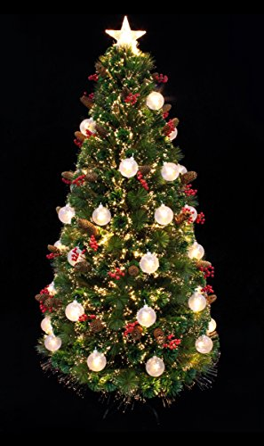 Artificial Christmas tree/Table Top Christmas tree/American Star Pine Pre-lit Christmas tree with star LED light/Decorated Fiber Optic Christmas tree (3ft) (Pre Lit Potted Christmas Trees)