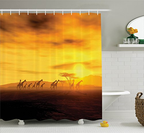or Collection, Group of Giraffe Sunset Sunlights Coloring Clouds Sky and Earth Horizon African Wildlife View, Polyester Fabric Bathroom Shower Curtain Set, 75 Inches Long, Orange (African Safari Fabric)