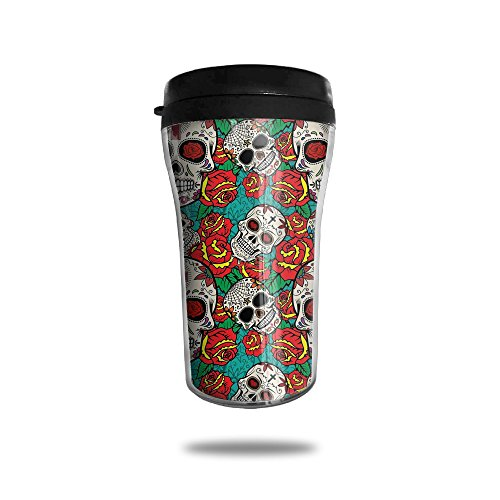 Sugar Skull Roses Pattern Vacuum Insulated Stainless Steel Travel Mug (Peony Coffee Grinder)