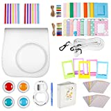 Neewer White 10-in-1 Accessories Kit for Fujifilm Instax Mini 9 8+ 8/8s: Camera Case/ Album/ Selfie Lens/ 4xColored Filter/ 5xTable Frame/ 20xWall Hanging Frame/ 40xBorder Sticker/ 2xCorner Sticker
