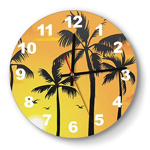 Neon Oakland Raiders Clock - saedes Palm Tree Sunset Yellow Wall Clock Decorative Wall Clock Round Easy to Read Home/Office/School Clock,Wall Clocks Silent Battery Operated
