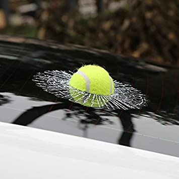 Car styling ball hits 3d car sticker window tennis car body sticker decals prank