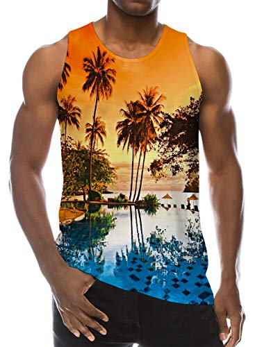 (Loveternal Guy Tank Tops Crew Neck Loose Casual Athletic Fitness Resort Wear Workout Tank Tops Bright Colored Tropical Plam Tree Plus Size Hawaiian Luau Printed Undershirt XL)