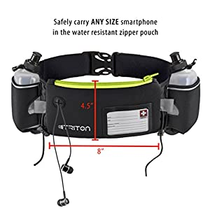 Triton Running Gear Hydration Running Belt with Headphones, 2 BPA Free Water Bottles, ID card and Large Pocket for Plus Size Smartphones, Green