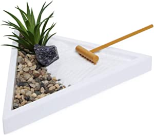 Desktop Mini Meditation Zen Garden Tray for Stress Relief - 7 by 6 inch - with Salt Rock, Faux Succulent, Natural Rocks, Rake, and Sand