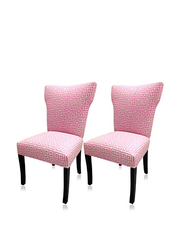 sole designs set of 2 chain wingback chairs pink