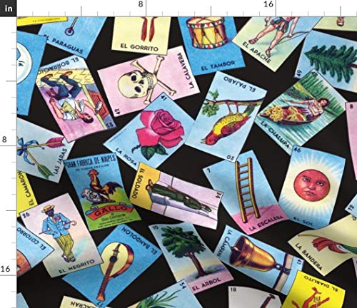 Spoonflower Loteria Fabric - Loteria Mexican Mexico Cards Loteria Cards Tarot by Jellymania Printed on Basic Cotton Ultra Fabric by The Yard