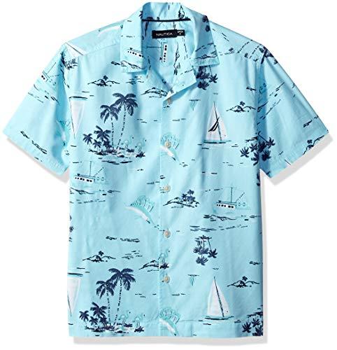 Nautica Boys' Short Sleeve Printed Woven Shirt, Maui Paradise Small (8)