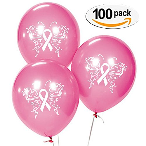 Breast Cancer Awareness | Fancy Butterfly Ribbon Design 100 pack latex , 10- inch ballons (Breast Cancer Awareness Balloons)