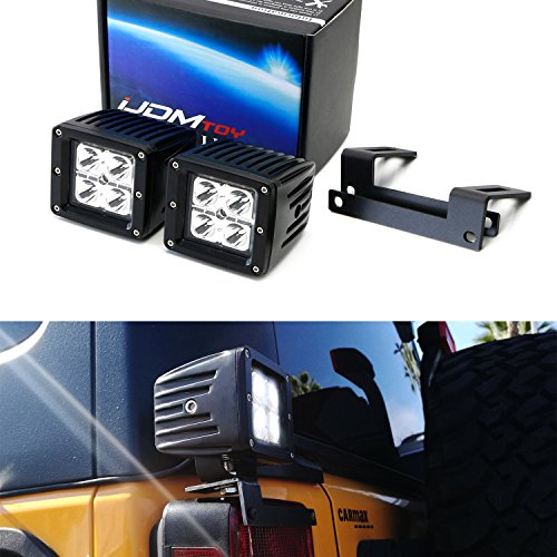iJDMTOY Above Taillamp LED Pod Kit For 2007-17 Jeep Wrangler JK, Includes (2) 20W High Power CREE LED Cubes, Rear Above Tail Light Mounting Brackets & On/Off Switch Wiring Kit